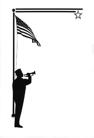 Silhouette of Bugler and American Flag